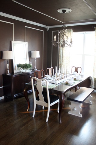 dark brown dining room walls