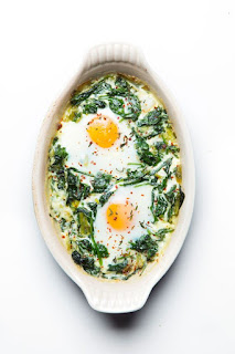 baked egg, spinach, and leek