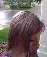 freshly toned blonde hair in outdoor rain spring purple pink dye wet bleach