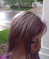freshly toned blonde hair in outdoor rain spring purple pink dye wet bleach