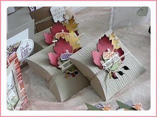 Stampin' Up! Rosa Mädchen Kulmbach Teamtreffen Jenni Pauli Helga Hopen Pillow Box Holzmaserung Herbst Blätter Laub Eichel Eichelstanze