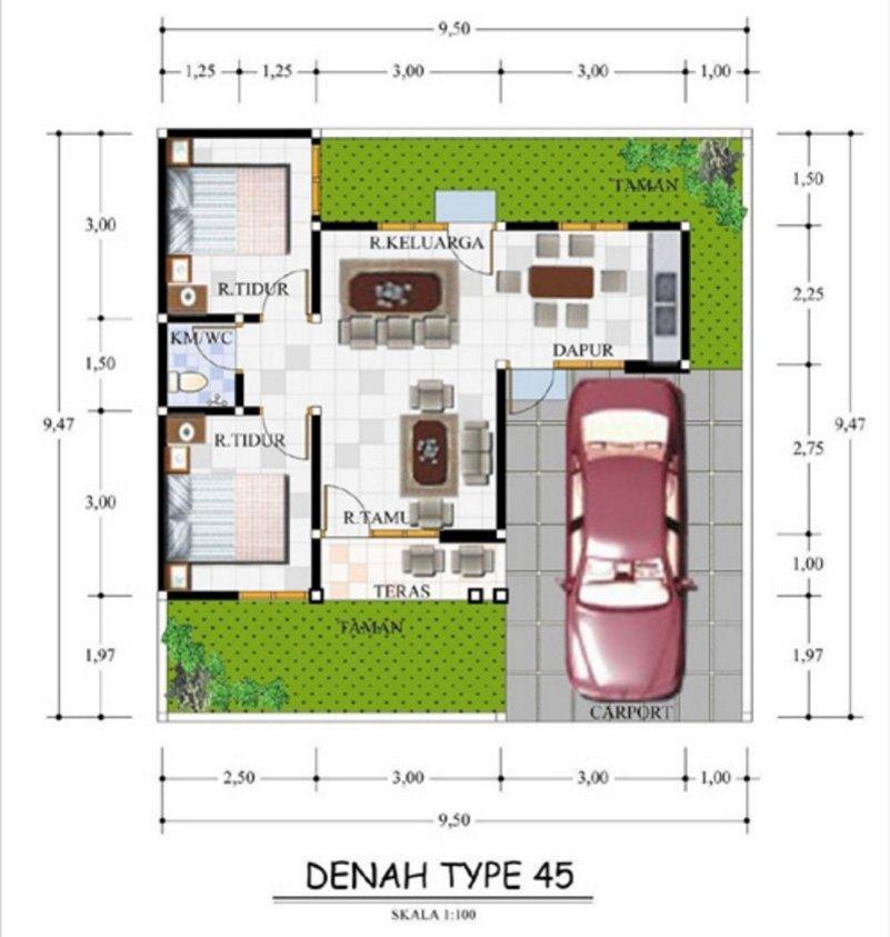denah rumah ukuran 10x10 1 lantai yang bagus