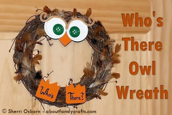 Cute owl fall craft wreath from Pinterest