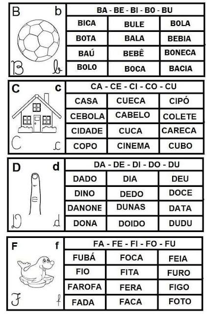 Cartazes com as famílias silábicas para imprimir e baixar em PDF