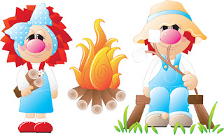 Clipart Image of Two Cartoon Characters at a Campfire