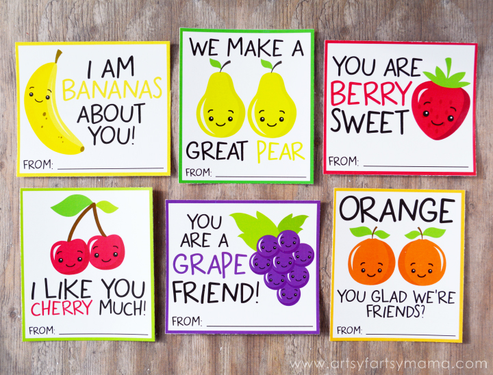 Free Printable Fruit Valentines at artsyfartsymama.com