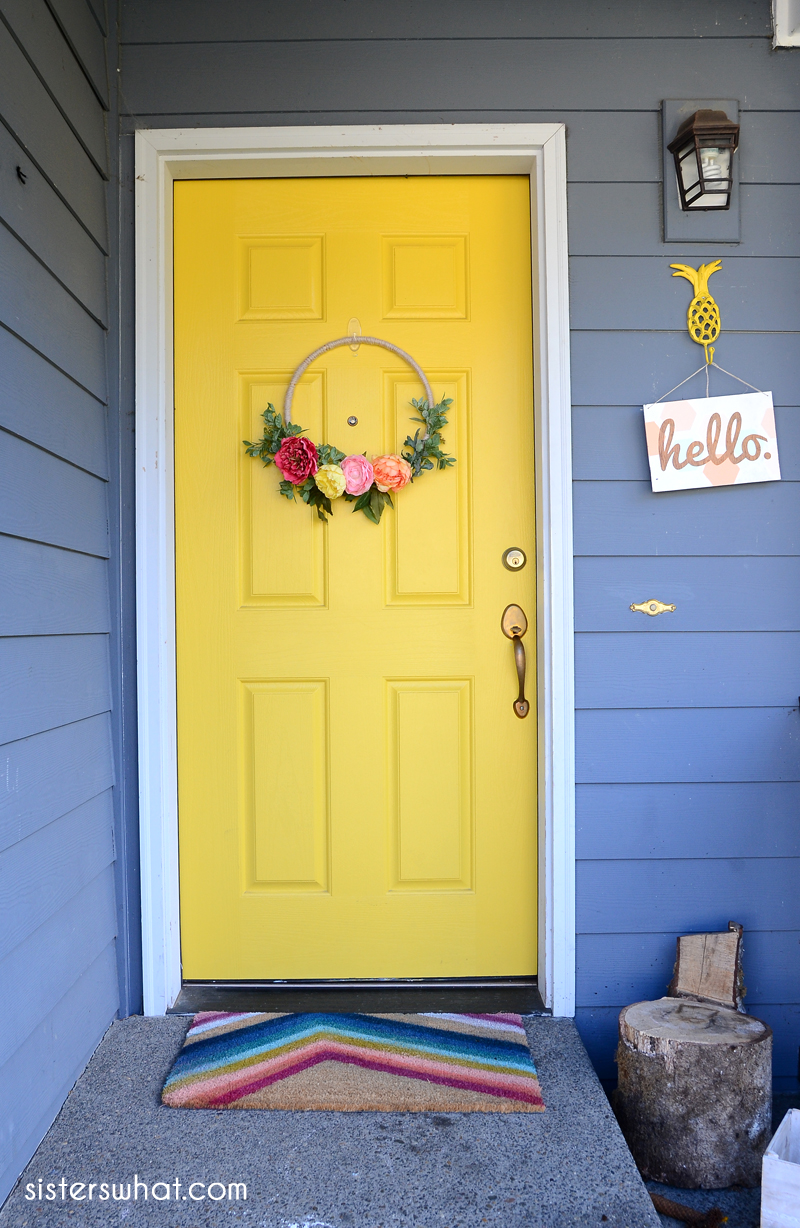 Painted yellow door a bright front door