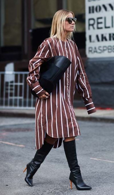 fashionable outfit / striped shirt dress + bag + black high boots