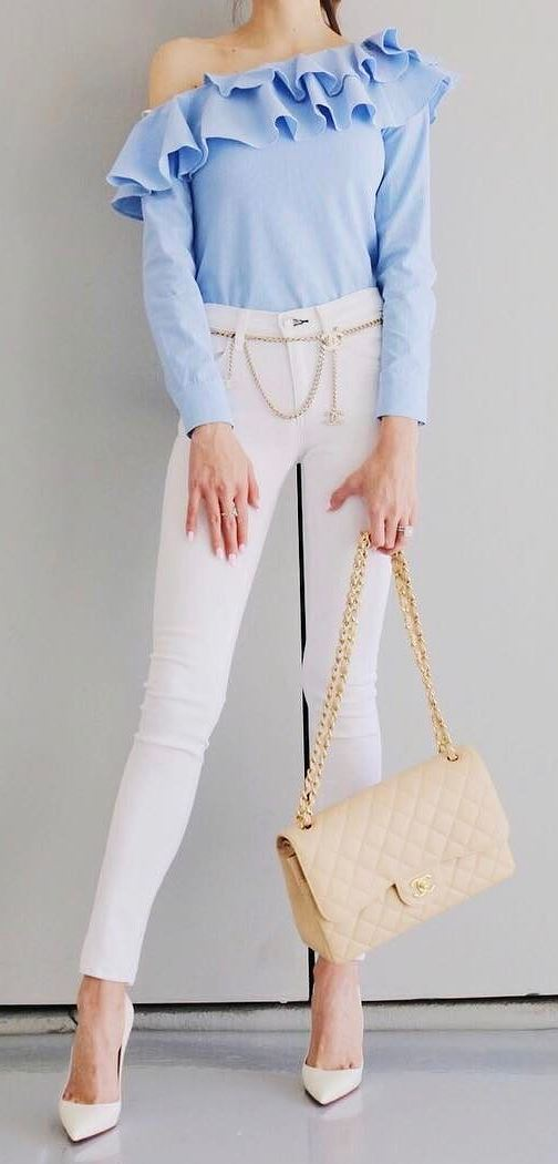 casual style addiction: top + skinny pants + heels