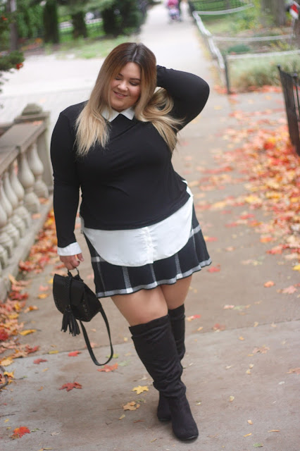 plus size plaid mini skirt, fall fashion 2016, plus size fall style, wide calf knee high boots for plus size, knee-high suede boots, boots under $100, natalie craig, natalie in the city, midwest blogger, chicago blogger, suzy shier, curve appeal, fatshion, fashion inspiration