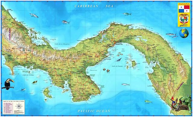 Mapa rodoviário do Panamá