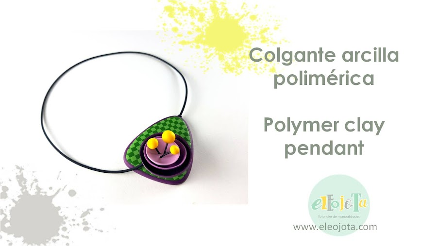 colgante flor abstracta polymer clay
