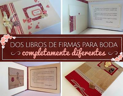 Libros de firmas boda, romantico y vintage, scrapbooking