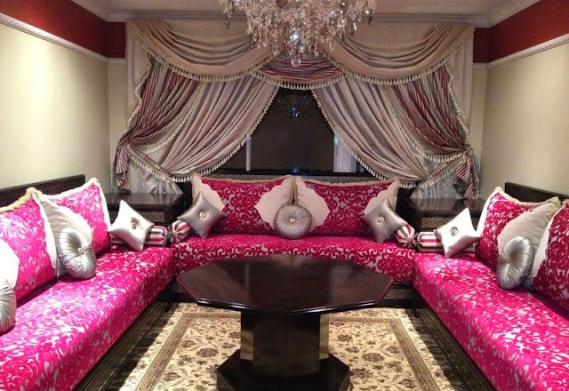 luxury style living room curtain styles with beautiful silk shimmer fabric  with fuchsia sectional sofa set and grey cushions
