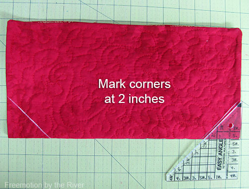 Mark the corners at 2 inches