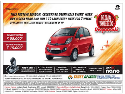 Tata Nano attractive festive season offers | October 2016 Diwali/Dassehra festival discount offers