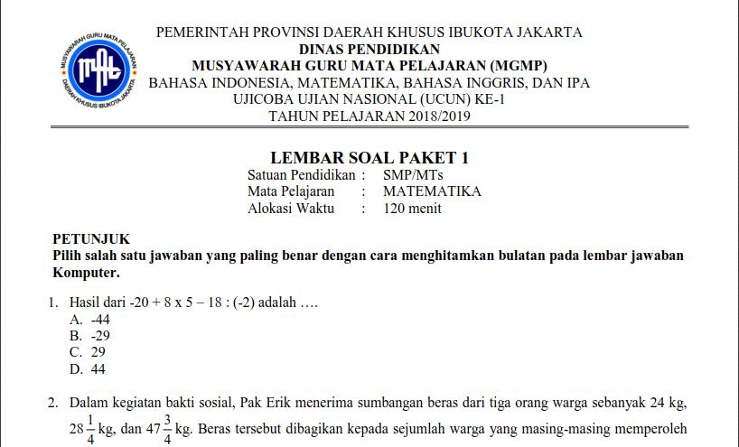 soal un matematika smp 2019 pdf