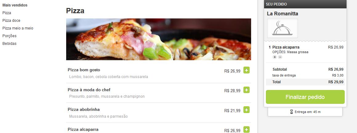 Etapas do pedido na Hellofood,  comida online