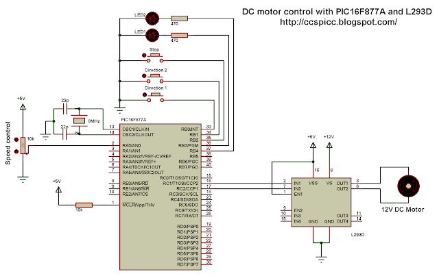 DC motor speed direction control circuit using PIC16F877A and L293D CCS PIC C
