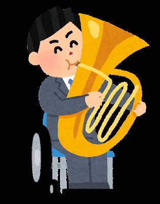 チューバを演奏する男性のイラスト(車椅子)