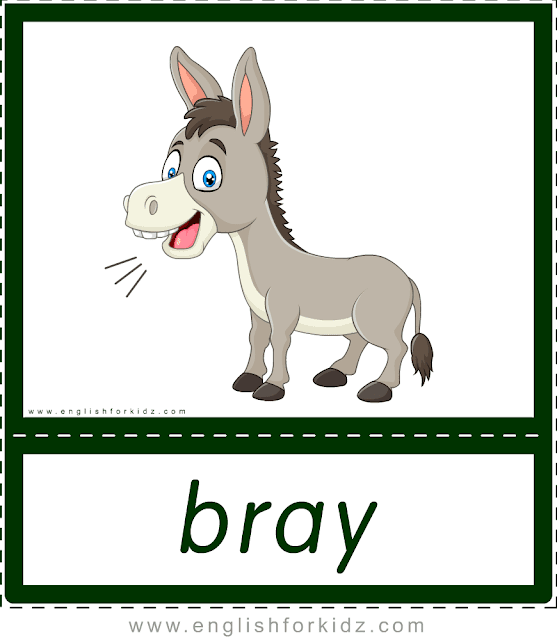 Animal sounds flashcards - bray - donkey -- printable ESL resources