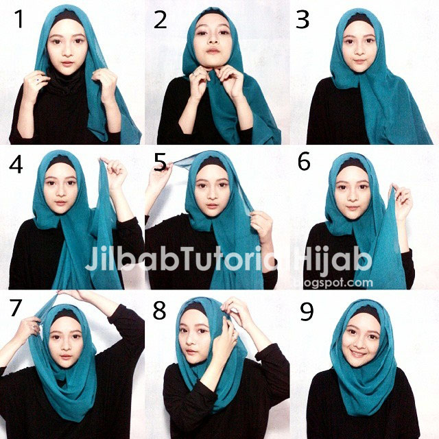 tutorial hijab segi empat terbaru untuk kuliah dan sederhana 2016
