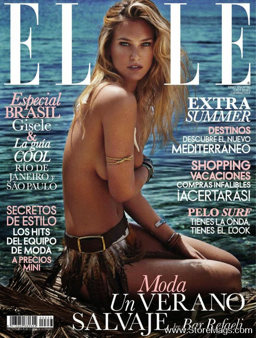Bar Refaeli goes topless for the Elle Spain June 2014 cover