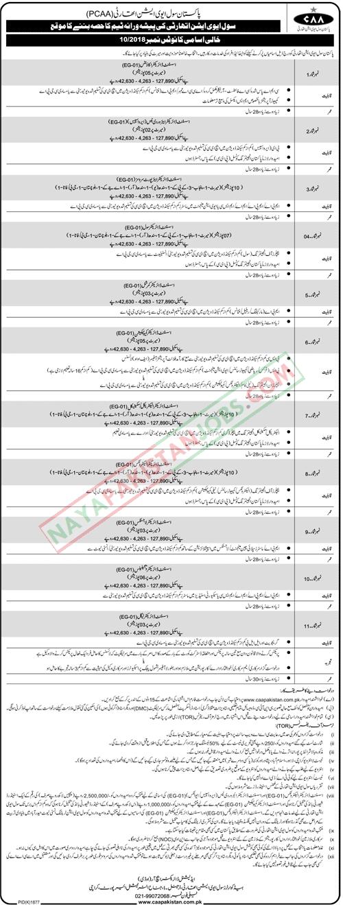 Latest Vacancies Announced in Pakistan Civil Aviation Authority CAA Pakistan 18 November 2018 - Naya Pakistan