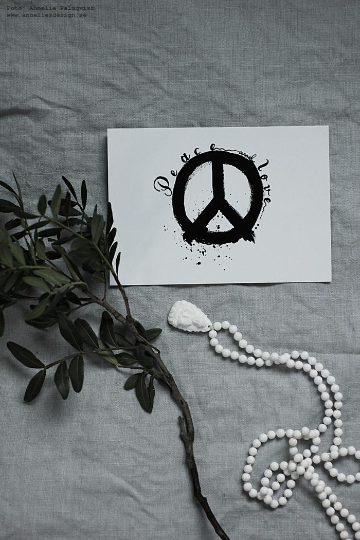 peace, annelies design, webbutik, webshop, nätbutik, nettbutikk, inredning, vykort, svartvit, svartvita, svart och vitt, peacetecken, peacetecknet, kort,