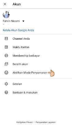 cara-menggunakan-mode-penyamaran-youtube-android