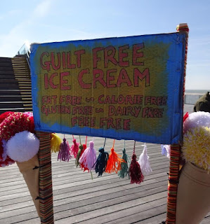 While we were on the pier on Sunday we spotted an ice cream cart going round offering free knitted ice creams! They were gluten free to boot