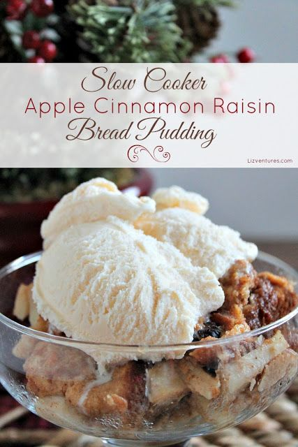 Slow Cooker Apple Cinnamon Raisin Bread Pudding Recipe