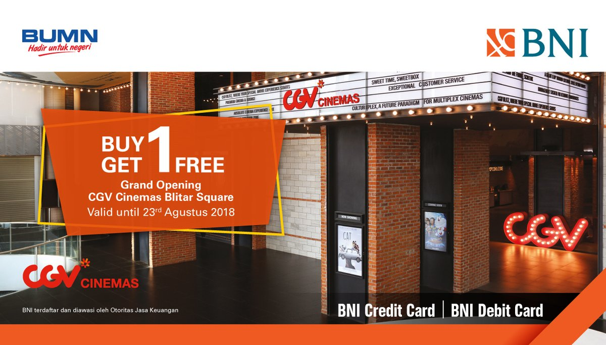 CGV - Promo Buy 1 Get 1 Free Ticket Opening CGV Cinemas Blitar Square
