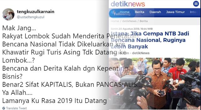 Istana Sebut Status Bencana Nasional Rugikan RI, Ust. Tengku: Benar-benar Sifat Kapitalis