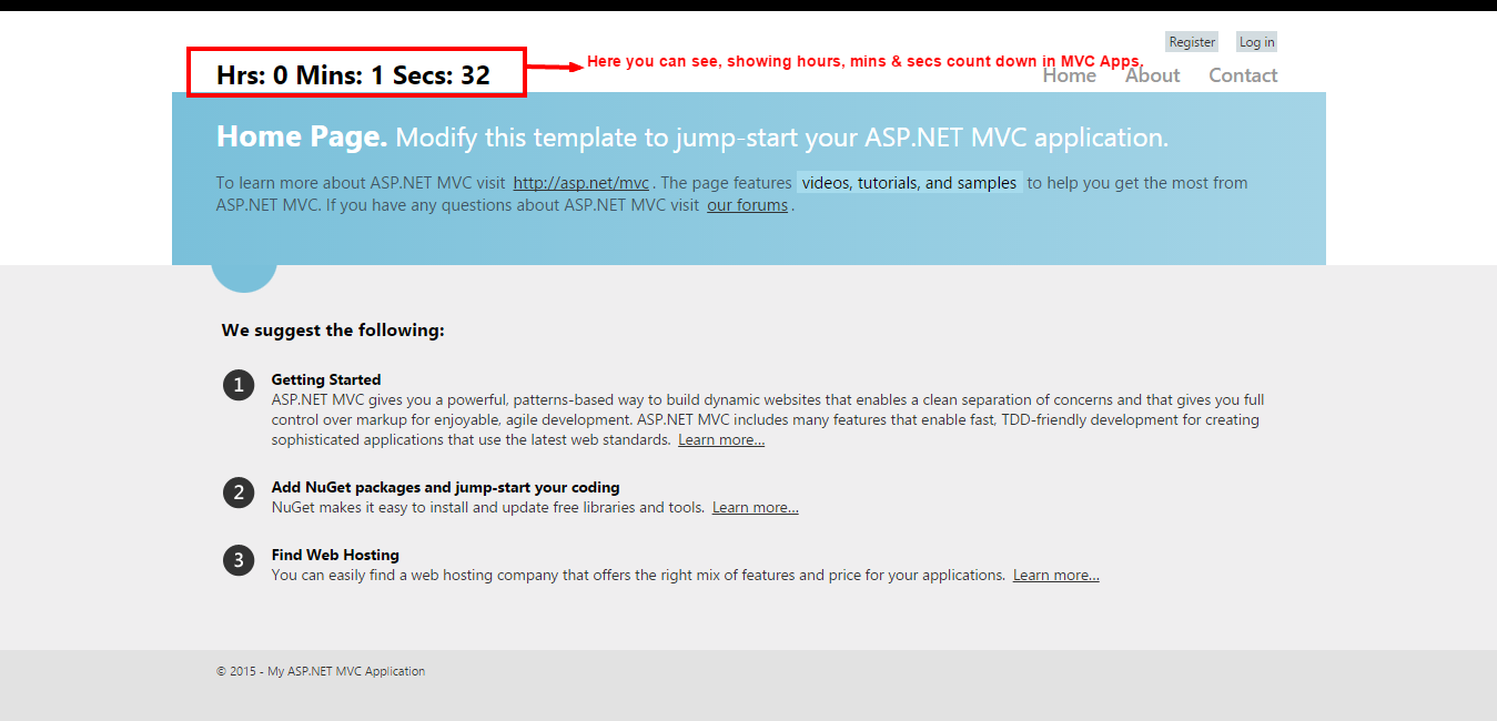 Count Down Timer: Jquery Timer Countdown in MVC Application - ASP