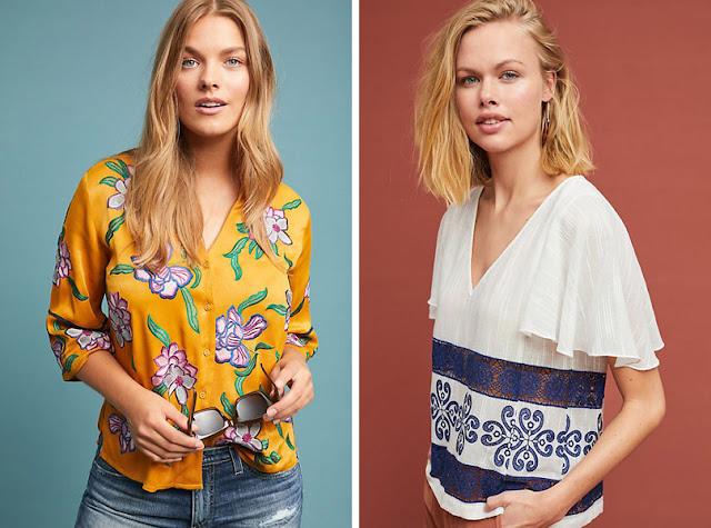 Девушки натуральной внешности в блузках со стилизованным цветочным принтом