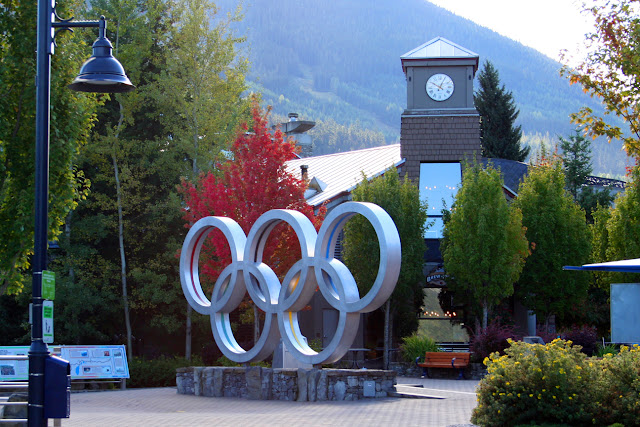 Olympic rings at Olympic Celebration Plaza, Whistler, BC