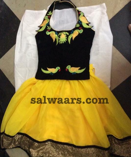 Yellow Lehenga Thread Work Blouse