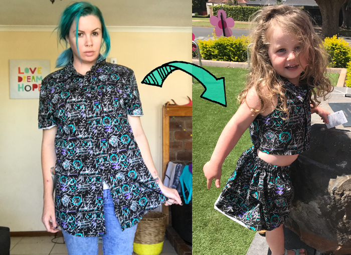 Tutorial: Turn a men's button up shirt into a cute girl's two piece • www.max-california.com