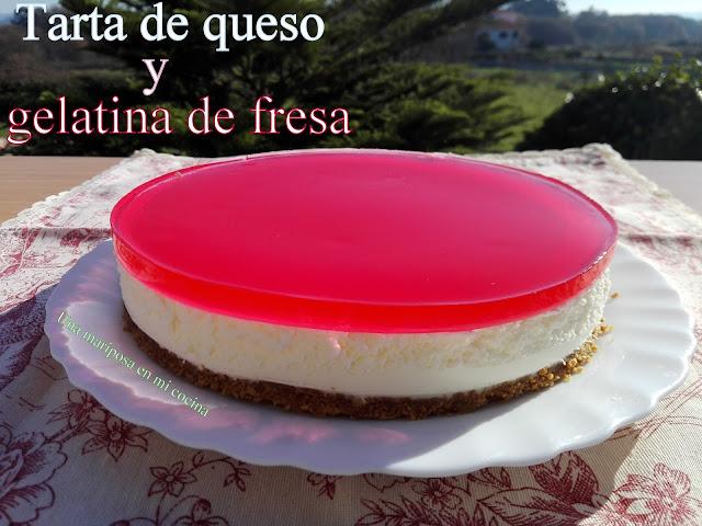 Tarta De Queso Y Gelatina De Fresa