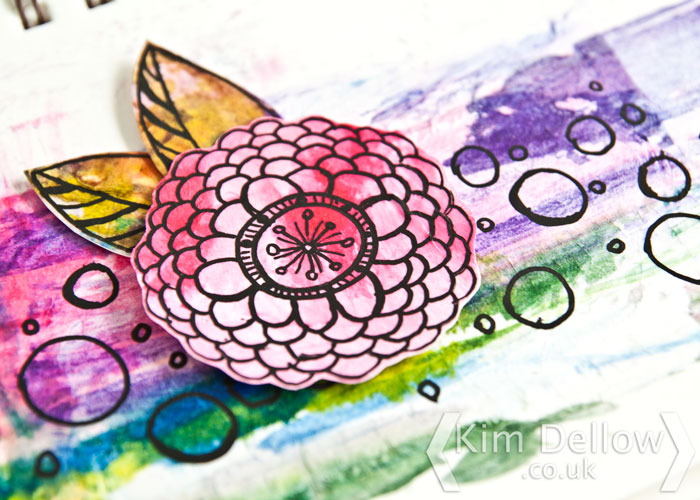 Kim Dellow Using refill ink to make an art journal page