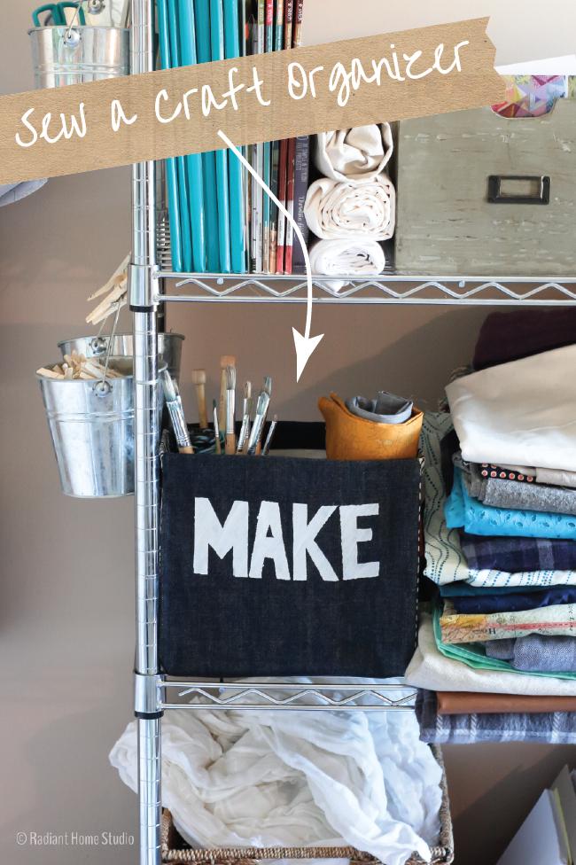 A metal rack with a craft organizer.