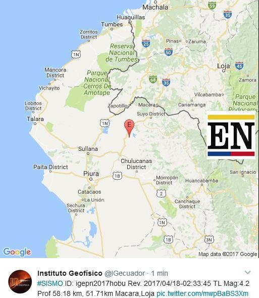 temblor en Macara