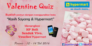 Info Kuis - Kuis Pantun Valentine's Hypermart Berhadiah HP Bolt, Sendok Vivo dan Voucher Belanja Hypermart