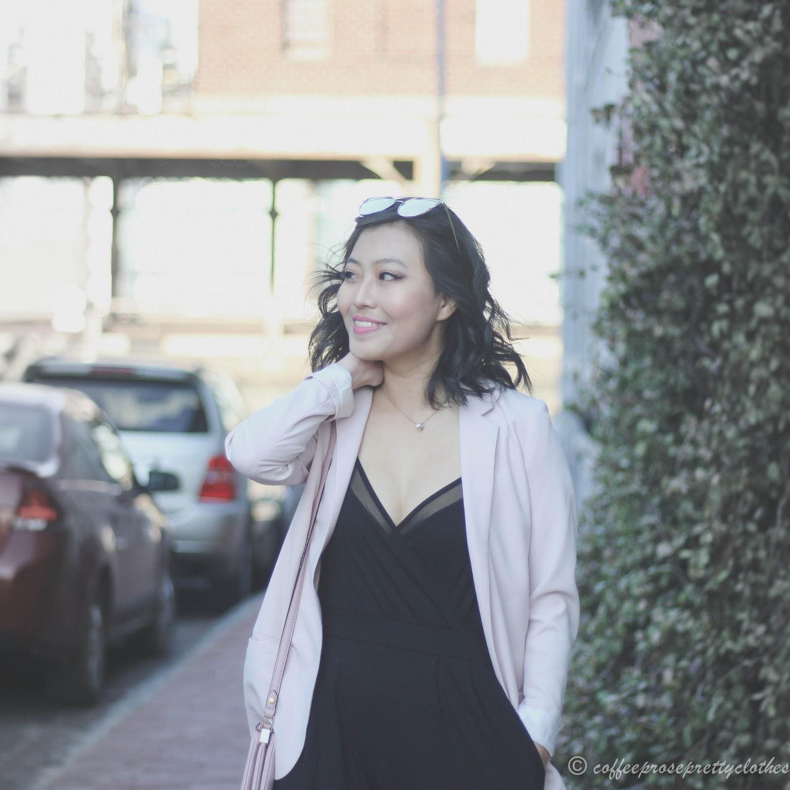 ASOS black jumpsuit, Kate Spade Madelyne, blush blazer H&M, Zara heelsASOS black jumpsuit, Kate Spade Madelyne, blush blazer H&M, Zara heels