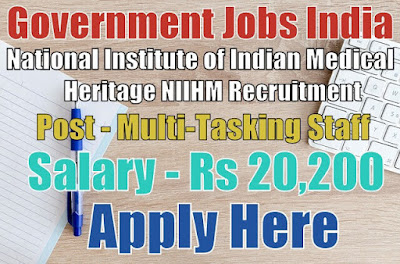 National Institute of Indian Medical Heritage NIIMH Recruitment 2017