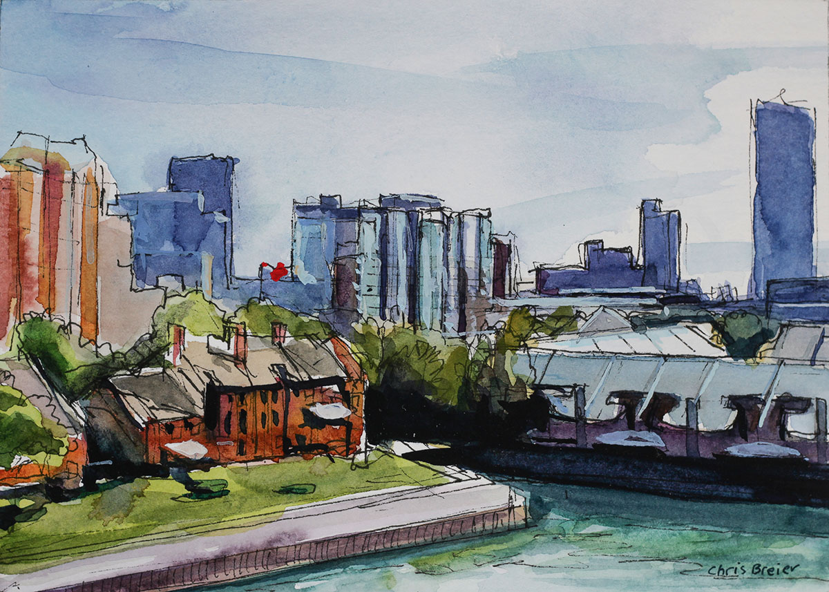 watercolor painting of the waterfront in downtown Buffalo