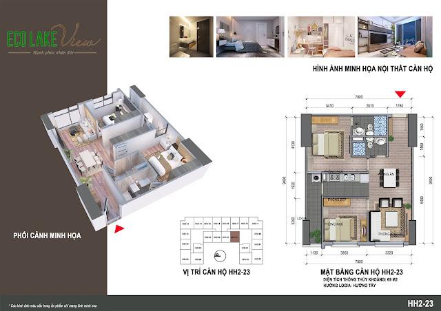 Căn hộ 23, diện tích 69m2 - 2 phòng ngủ