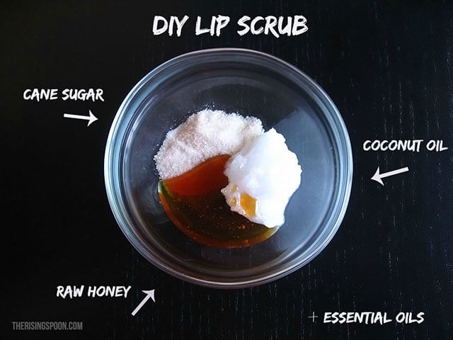 Ingredients for Homemade Sugar Lip Scrub