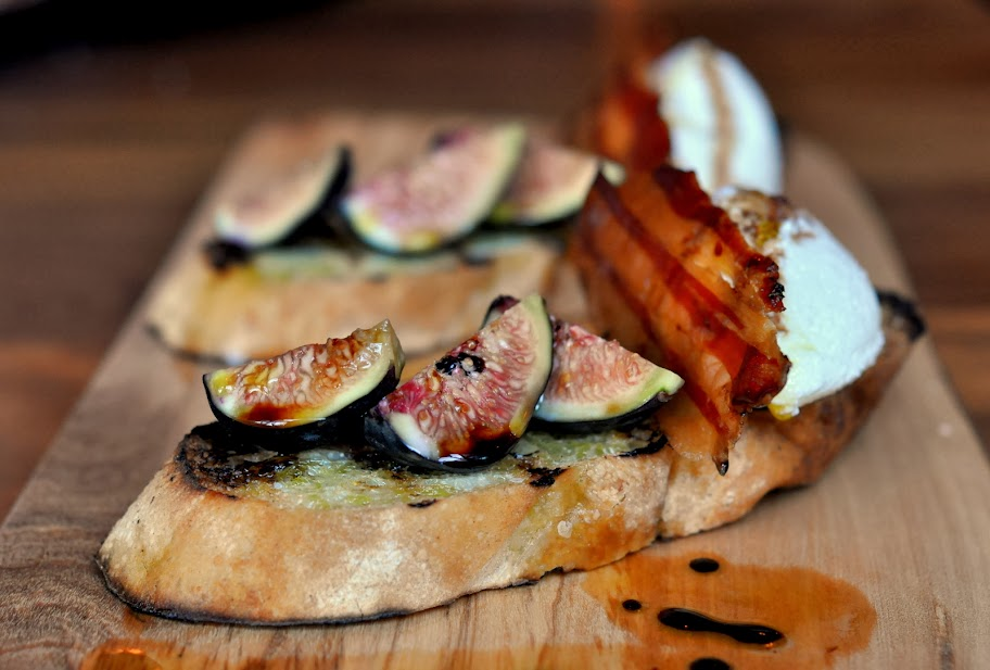Fig Crostini with Ricotta and Bacon - Molinari's - Bethlehem, PA | Taste As You Go